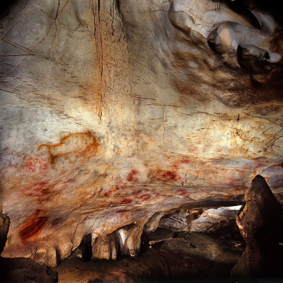 The Panel of Hands, El Castillo cave, Spain. A hand stencil has been dated to earlier than 37,300 years ago and a red disk to earlier than 40,600 years ago, making them the oldest cave paintings in Europe. A study in Science finds that cave art in Spain is even older than we thought.