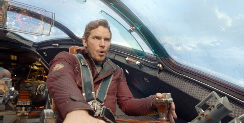 """Chris Pratt in a scene movie """"Guardians of the Galaxy,"""" which beat industry forecasts with an estimated $94 million at the box office on its opening weekend."""