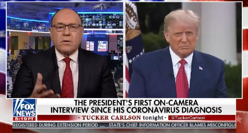 "Dr. Marc Siegel and President Trump on ""Tucker Carlson Tonight."""