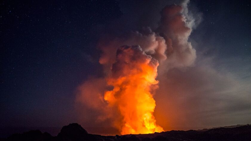 A different perspective of the volcanic show on Hawaii Island.