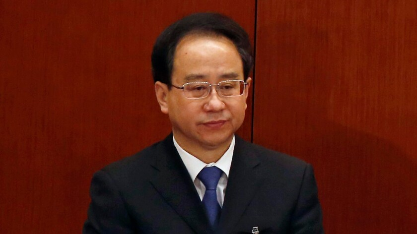 A picture taken in March 2013 shows Ling Jihua, aide to former Chinese President Hu Jintao.