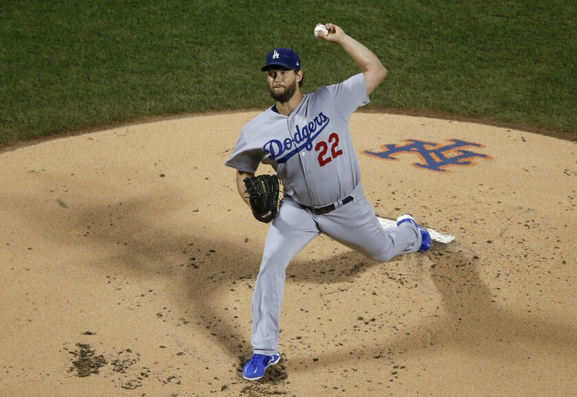 Dodgers starter Clayton Kershaw delivers during the first inning of a 9-2 victory over the New York Mets on Friday.