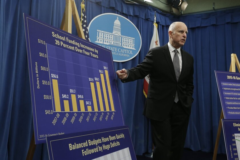 Gov. Jerry Brown discusses the state budget during a news conference in Sacramento on Jan. 9.