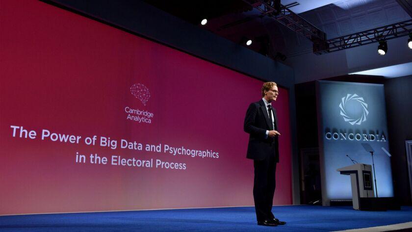 Cambridge Analytica chief Alexander Nix speaks at the 2016 Concordia Summit in New York.