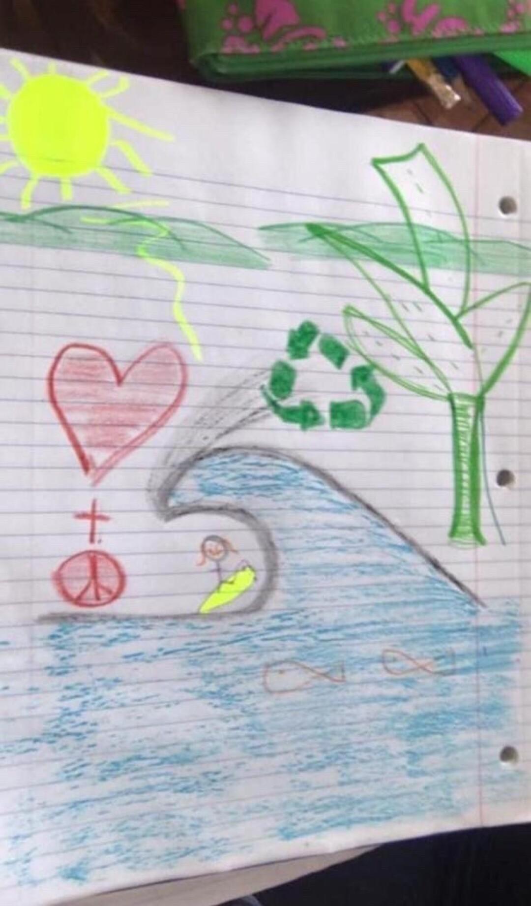 Salvadoran surfer Katherine Díaz drew a picture that depicted her death.