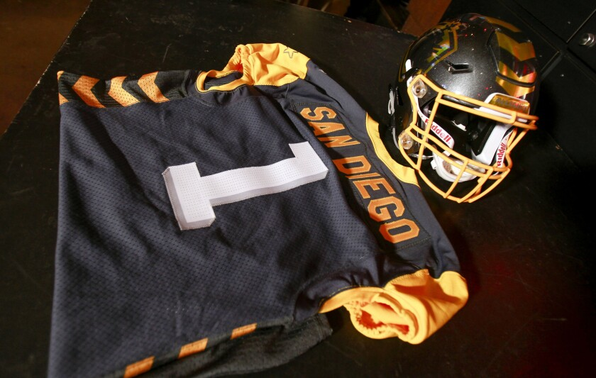 The helmet and jersey for the San Diego Fleet football team
