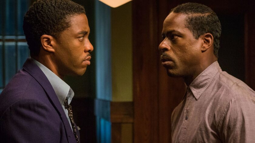 """Chadwick Boseman (left) as Thurgood Marshall and Sterling K. Brown as Joseph Spell in """"Marshall."""""""
