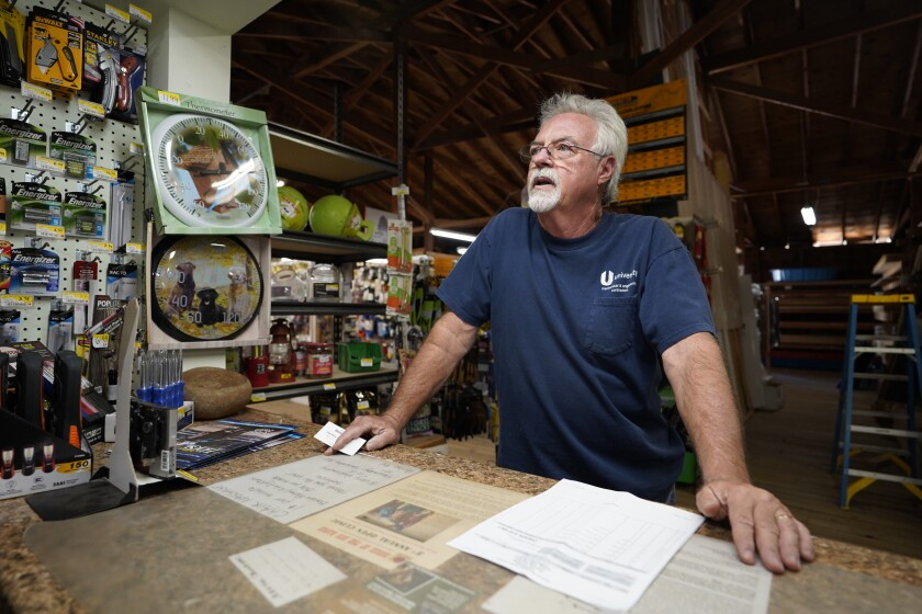 Bob Marks, 62, is the co-owner of East County Lumber and Ranch Supply store on Forrest Gate Road in Campo. The store is on the land that is up for sale.