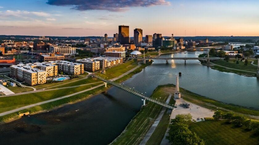 Downtown Dayton Sunset Panorama
