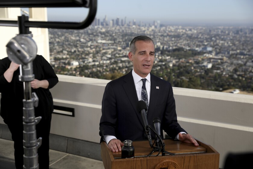 Los Angeles Mayor Eric Garcetti delivers his annual State of the City address in April.