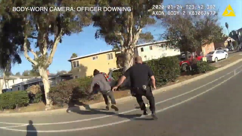Screen grab from body camera worn by a San Diego police officer during a fatal shooting in Oak Park on Jan. 24, 2020.