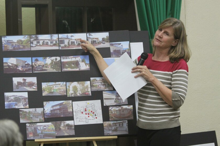 Sue Skala, representing the Serros Residence on Dunemere Drive, details the project's expansion plans at the CPA meeting Dec. 3.