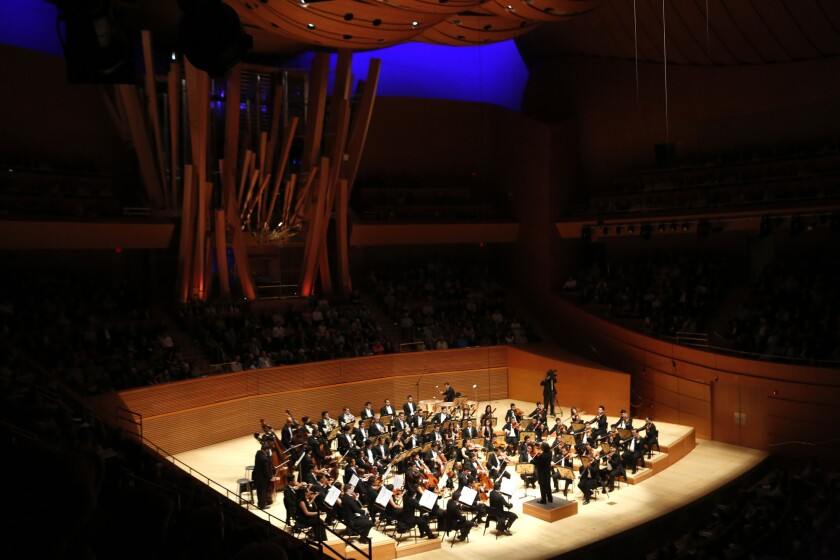 LOS ANGELES, CA - OCTOBER 2, 2015 -- Gustavo Dudamel conducts the Simon Bolivar Symphony Orchestra o