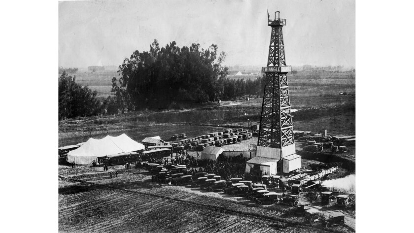 Circa 1923 photo of Triangle Oil Syndicate promotion party.