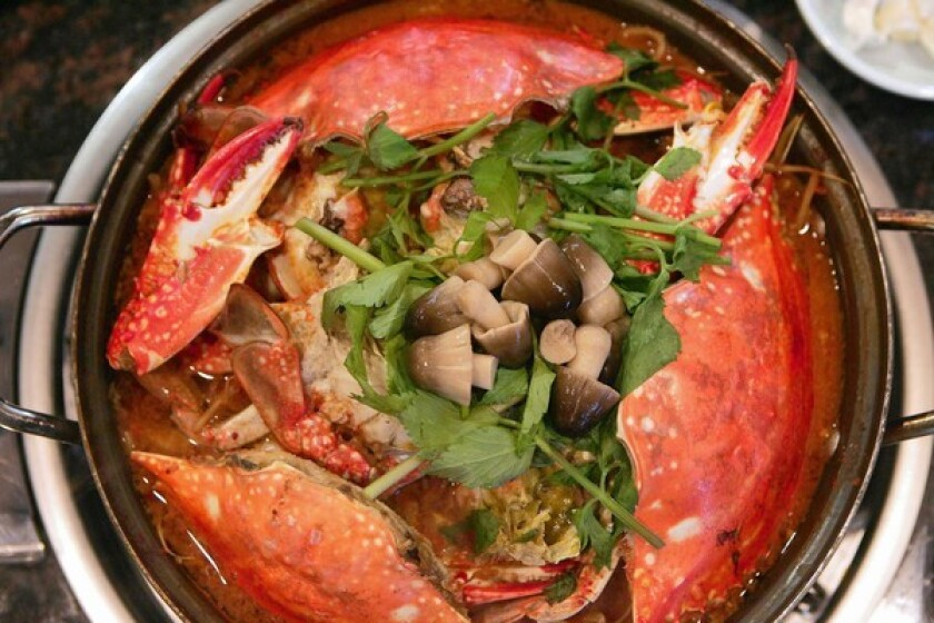 A hot pot at On Dal 2 comes loaded with crab.