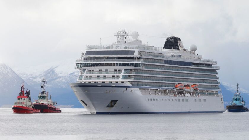 Cruise ship Viking Sky arrives at Molde, Norway, after engine failure the day before in windy conditions led to a helicopter rescue effort.