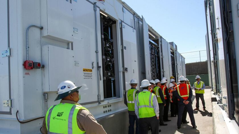 SDG&E gives a tour of a lithium-ion battery enclosure at the world's largest lithium-ion battery energy storage facility in Escondido on Feb. 24, 2017.