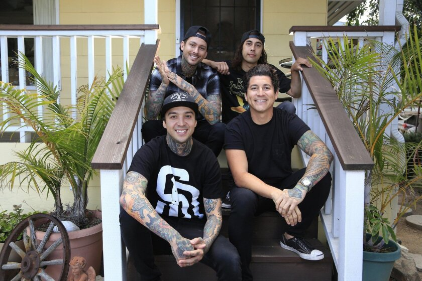 May 25th 2016 San Diego_CA_USA | Pierce the Veil members, front left, Tony Perry, Jaime Preciado, rear left, brothers Mike and Vic Fuentes. | Mandatory Photo Credit: Photo by David Brooks / San Diego Union-Tribune_© 2016 San Diego Union-Tribune, LLC