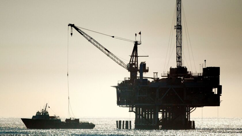 An oil drilling rig is seen off Seal Beach. The Trump administration wants to expand drilling off California and elsewhere, but says it will exempt the waters off Florida.