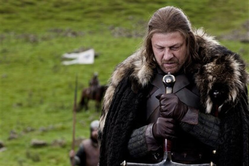"""In this publicity image released by HBO, Sean Bean portrays Lord Eddard """"Ned"""" Stark in a scene from the HBO series """"Game of Thrones,"""" premiering Sunday, April 17, 2011. (AP Photo/HBO, Nick Briggs)"""