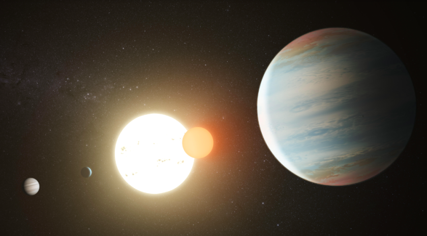 San Diego State University astronomers have discovered a third planet that's orbiting two stars in deep space,