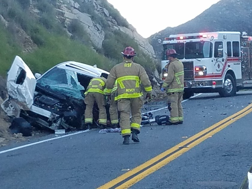 One person in the sedan died in a collision on Harmony Grove Road Friday morning. Firefighters tended to three other people who were injured. The CHP had the road blocked for several hours.
