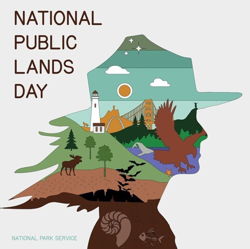 Illustrated poster promoting National Public Lands Day.