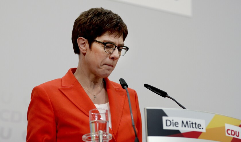 Annegret Kramp-Karrenbauer told leading members of the Christian Democratic Union that she won't seek the German chancellorship in next year's election.