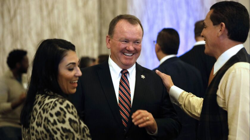 Los Angeles County Sheriff Jim McDonnell greets supporters on election night at the JW Marriott at L.A. Live.