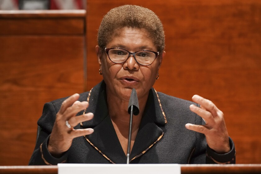 Rep.  Karen Bass (D-Los Angeles) speaks at Capitol Hill in Washington in 2020.
