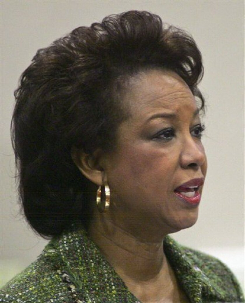 FILE -  In this March 7, 2013 file photo, Lt. Governor Jennifer Carroll speaks in Clay County in front of the Florida Cabinet, at the Capitol in Tallahassee, Fla. Carroll abruptly resigned Wednesday, March 13, 2012 after authorities questioned her ties into internet cafes that authorities say are f
