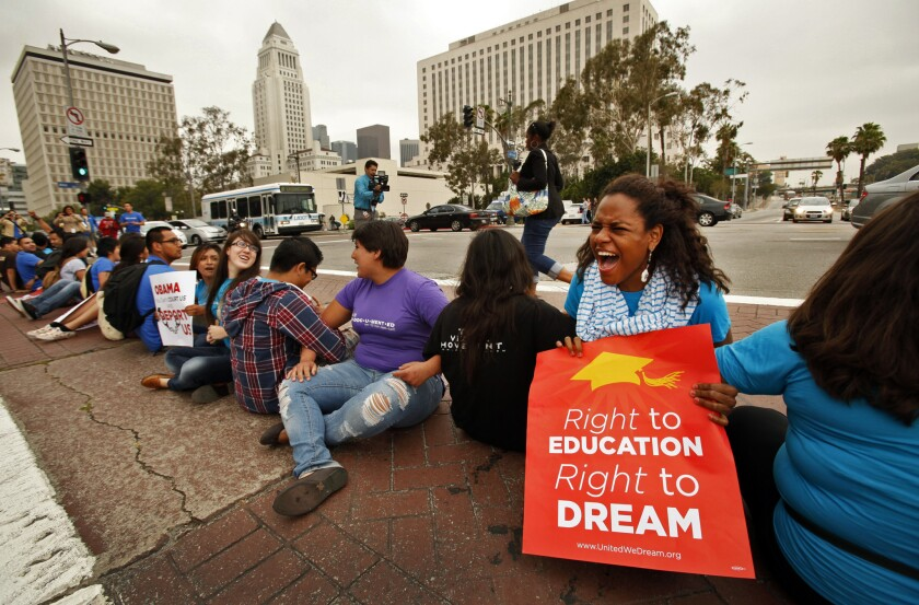 More than 150 students rallied in downtown Los Angeles in 2012 to voice their support for President Obama's decision to halt the deportation of young immigrants who are in the country illegally.