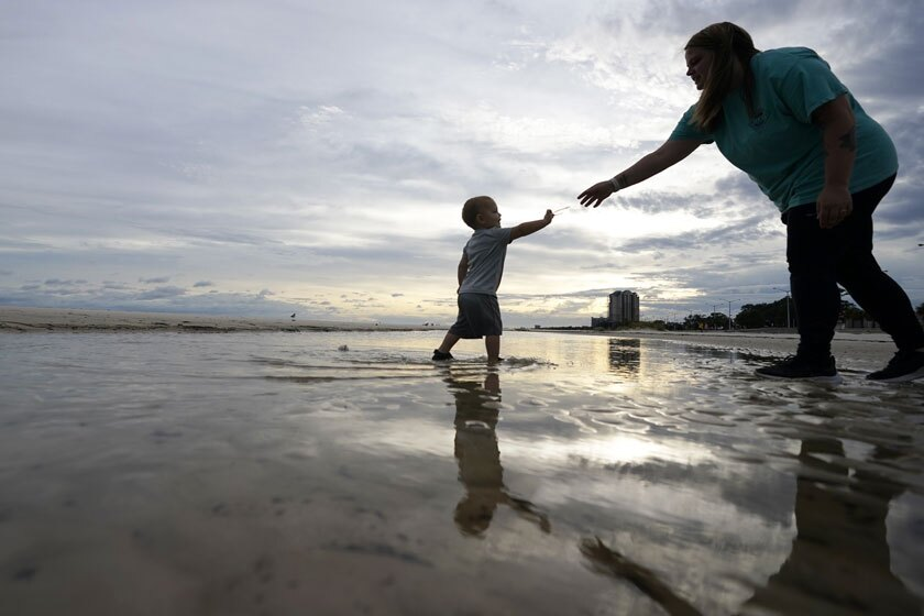 Nikita Pero and her 2-year-old son, Vinny, in Biloxi, Miss., on Monday.