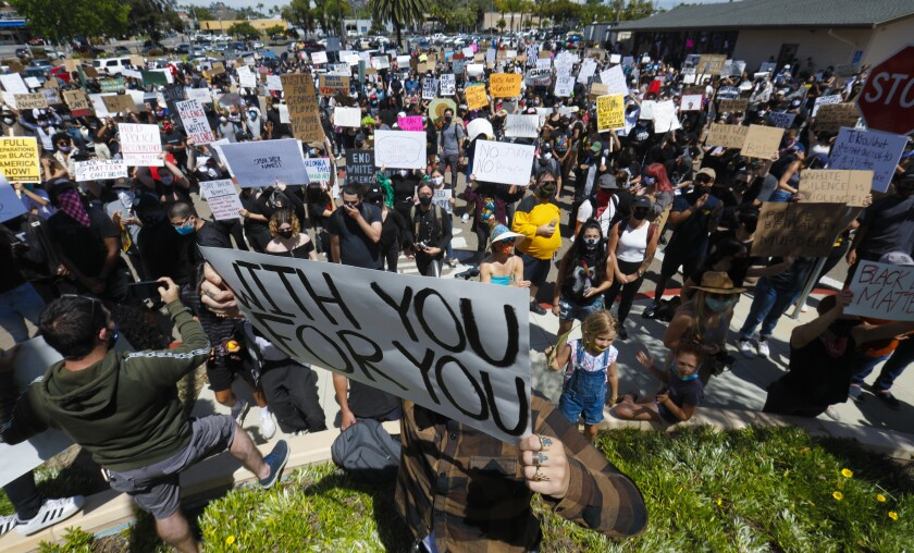 More than a thousand protestors demonstrated at the La Mesa Police Department on May 30.
