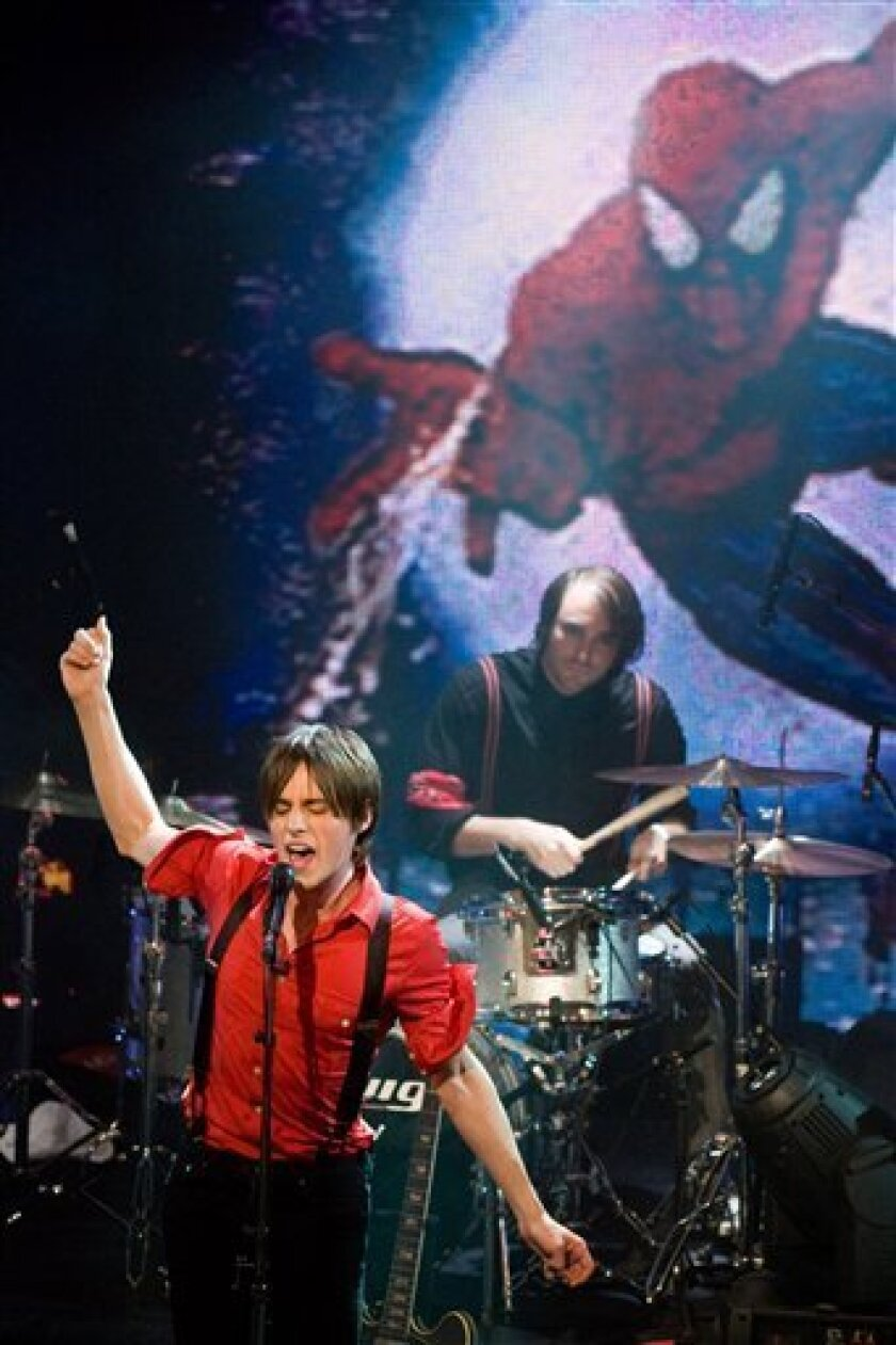 """Reeve Carney, star of Broadway's upcoming """"Spider-Man Turn Off The Dark"""", performs on ABC's """"Good Morning America"""" show in New York, Friday, Sept. 10, 2010. (AP Photo/Charles Sykes)"""