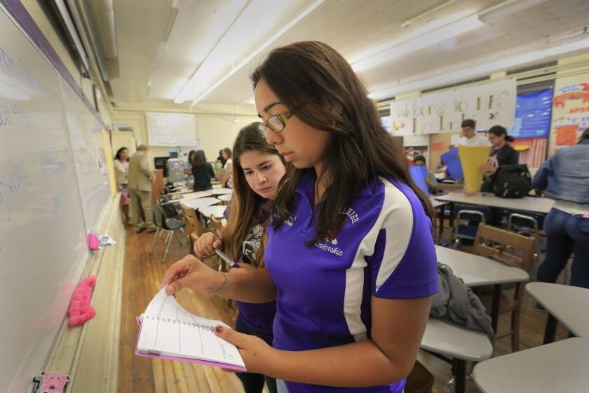 Students at Bell High School, the last year-round school in Los Angeles Unified. A new magnet school will open nearby in fall 2017, so Bell High won't have to be year-round anymore.