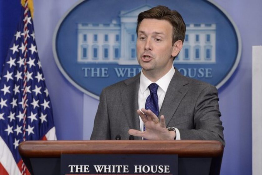 White House Deputy Press Secretary Josh Earnest addresses the daily briefing in Washington.