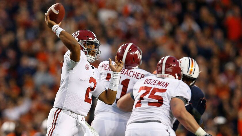 Alabama quarterback Jalen Hurts played in last year's national championship game against the Clemson Tigers.