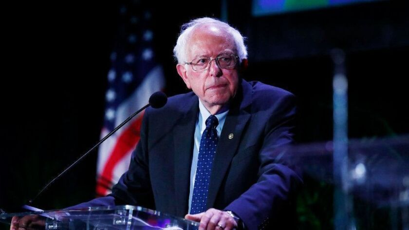 Democratic presidential candidate Sen. Bernie Sanders (I-Vt.) appears at a forum Friday in Miami.