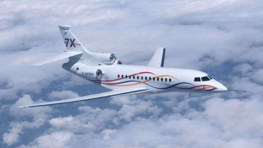 Image of Falcon 7X during its first test flight in the summer.