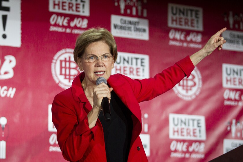 Democratic presidential candidate U.S. Sen. Elizabeth Warren speaks during a town hall meeting at the Culinary Workers Union Local 226 hosted by Unite Here, Monday, Dec. 9, 2019, in Las Vegas. (Yasmina Chavez/Las Vegas Sun via AP)