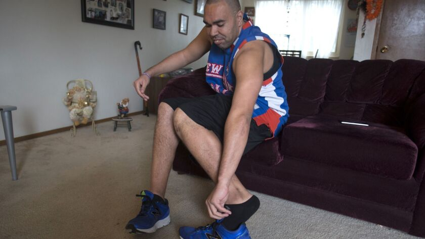Lamont Thomas gets ready for a run. He has became sort of a folk hero in Shoreline, Wash.