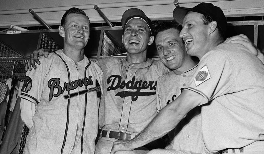 Bob Elliott (left to right), Gil Hodges, Ralph Kiner and Stan Musial celebrate their home runs in the 1951 All-Star Game.
