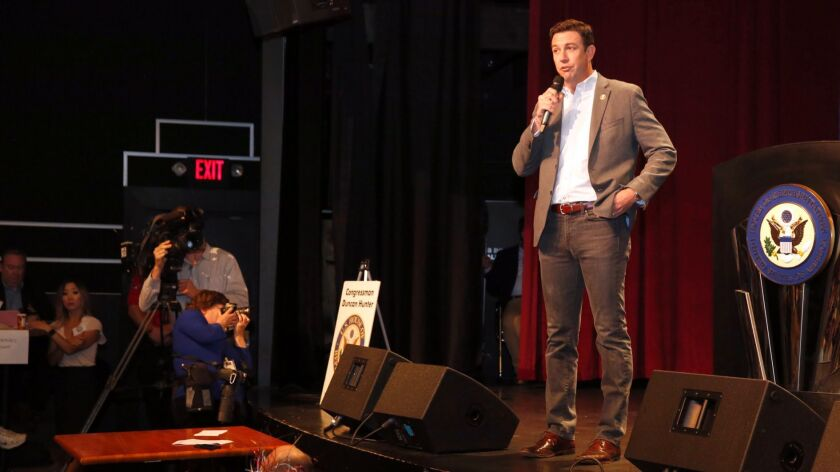 Rep. Duncan Hunter, pictured here at a town hall in March of 2017, will hold a town hall Saturday in Ramona.