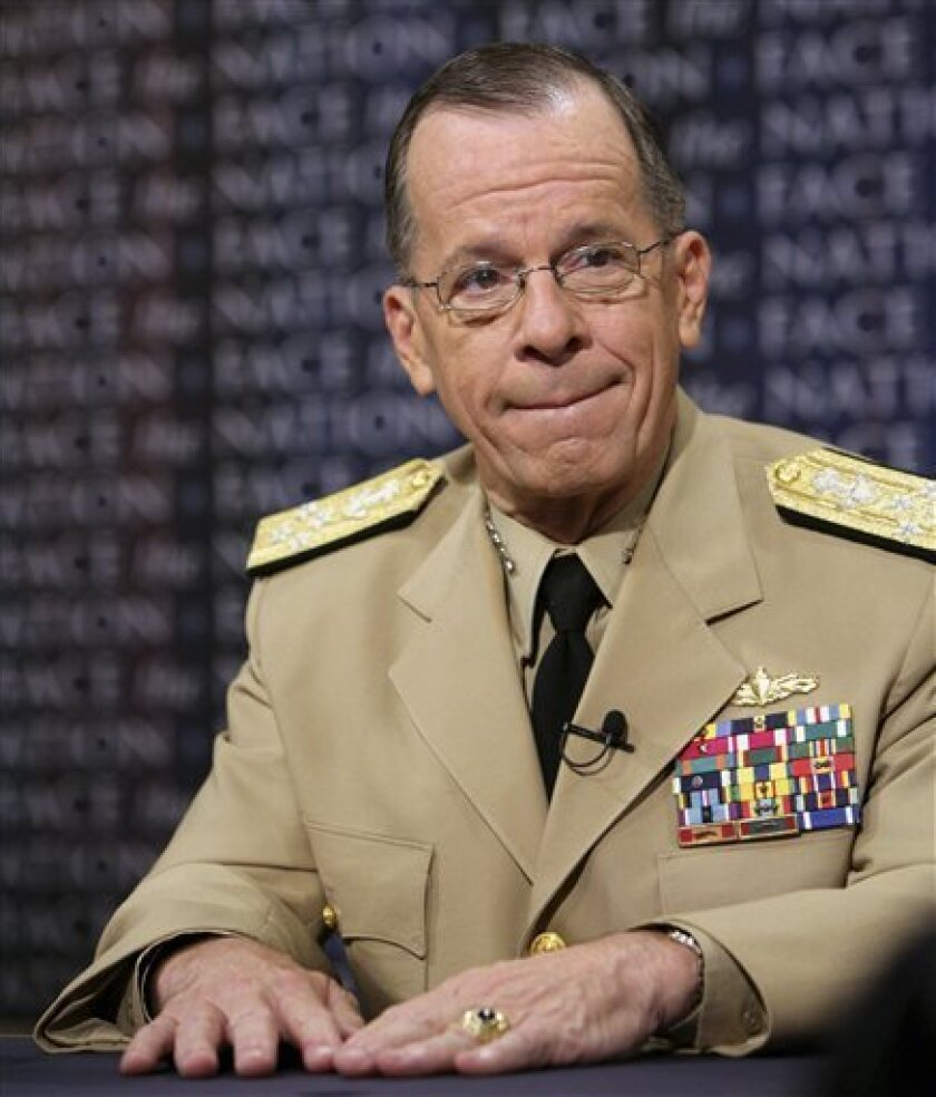"In this photograph provided by CBS, Chairman of Joint Chiefs of Staff Adm. Mike Mullen appears on ""Face the Nation"" at the CBS studios in Washington Sunday, July 5, 2009. (AP Photo/CBS Face the Nation, Karin Cooper)"
