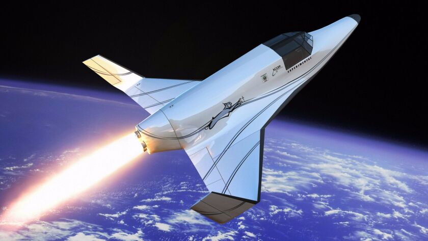 This rendering shows Xcor's Lynx, a two-seat rocket ship intended to take tourists on suborbital space flights.