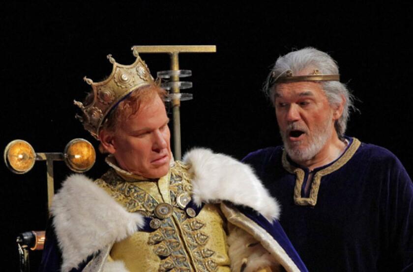 "Roger Honeywell (Segismundo) and John Cheek (Basilio) in the Santa Fe Opera's world-premiere production of Lewis Spratlan's ""Life is a Dream."""