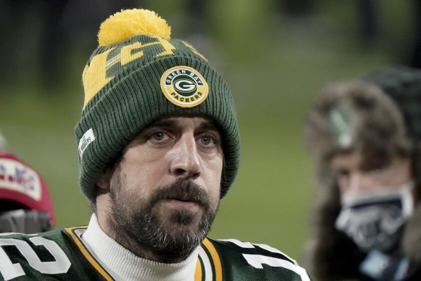En foto del domingo 24 de enero del 2021, el quarterback de los Packers de Green Bay Aaron Rodgers.