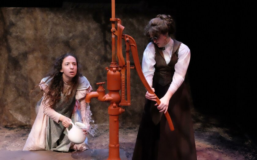 """Lucia Vecchio (left) as Helen Keller and Kelsey Venter as Annie Sullivan in """"The Miracle Worker."""""""
