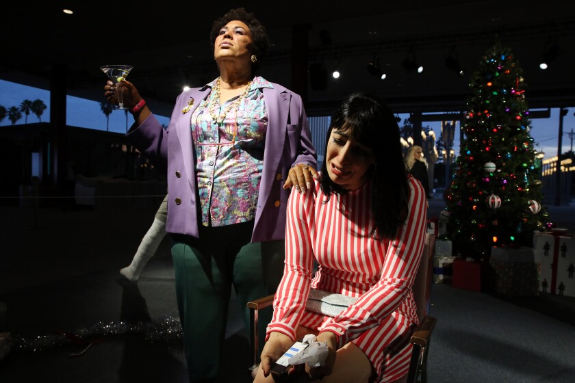 """A receptionist in Alex Prager's """"Farewell, Work Holiday Parties,"""" is not having the greatest time."""